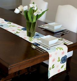 NAVY BLUE, PINK, GREEN,  WATERCOLOR FLORAL TABLE RUNNER TOPP