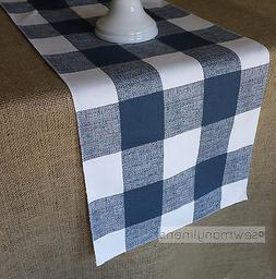 Navy Blue Plaid Table Runner Buffalo Check Country Dining Ro