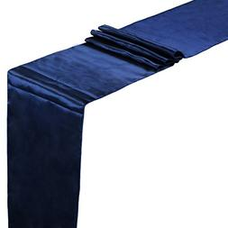 vLoveLife Navy Blue Satin Table Runners 12 x 108 Inch Weddin