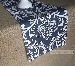 Navy Blue Table Runner Floral Damask Nautical Home Decor Din