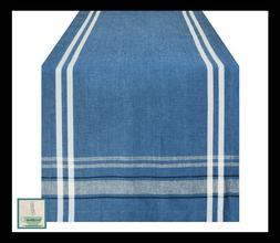 New Cotton Blue French Stripe Table Runner 14 x 72 Blue Cham