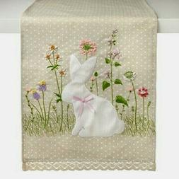 "NEW Spring BUNNY TABLE RUNNER 13"" X 72"" Linen Look EMBROIDER"