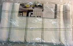 "NEW! Threshold TABLE RUNNER 60"" X 16"" Green Grid Washable Fr"