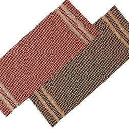 Newbury Gingham with Oat Trim 36 Inch Table Runner Red or Bl