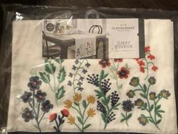 NWT Threshold Table Runner 14 X 72 Off White Blue Trim With