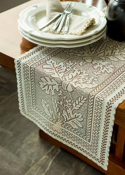"""Heritage Lace OAK LEAF 14""""x72"""" Table Runner in Café - Fall,"""