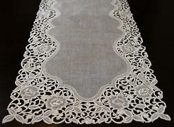 Organza Embroidered Lace Placemat Dining Table Runner White