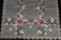 Organza Embroidered Lace Rose Table Placemat Runner Dresser