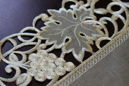 Oval Organza Embroidered Lace Cutwork Placemat Runner Dining