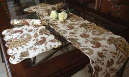 Paisley Quilted Cotton/Linen Table Runner or Placemats