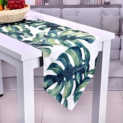 SevenFish Hawaiian Style Table Runner Palm leaves Printed Co