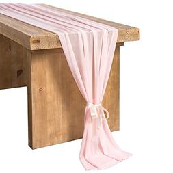 Ling's moment 27 x 120 Inches Pink Chiffon Table Runner/Over