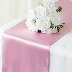 Tiger Chef 1-Pack Pink 12 x 108 inches Long Satin Table Runn