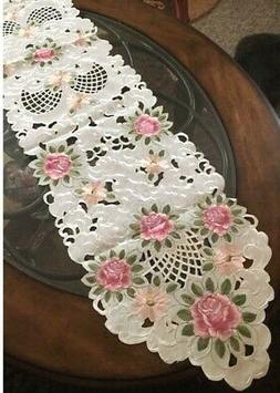 "Pink Rose & Daisy Table Runner Dresser Scarf 68""x 13"" Embroi"