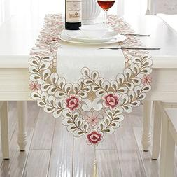 BeautiLife Pink Rose Embroidery Table Runner Leaf Jacquard T