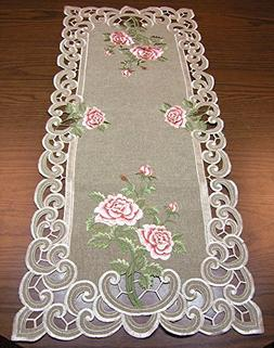 Pink Rose Flowers on Khaki Green Rectangle Embroidered Table