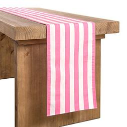 ling's moment Pink and White Striped Table Runner for Weddin