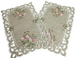 Doily Boutique Place Mats Set of 2 with a Pink Rose and Sage