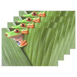 ALAZA Placemat Plate Holder Set of 4, Red Eyed Tree Frog Hid