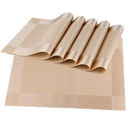 Wimaha Placemats Set of 6, Wipe Clean Woven Vinyl Placemats