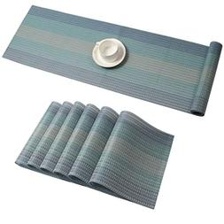 Pauwer Placemats with Table Runner Set Washable Heat Resista