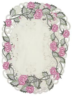 Placemats Embroidered Pink Rose, Set of 2, 11x17 Oval Shaped