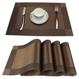 Placemats Set of 6 Stain Resistant PVC Placemat for Dining T