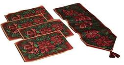Poinsettia Flowers Fabric Christmas Table Runner and Place M