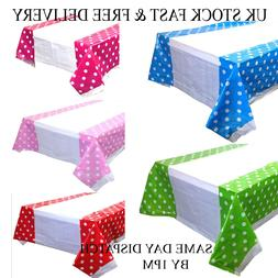 polka dot plastic table cover disposable party