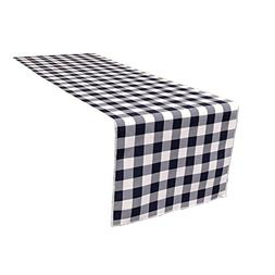 LA Linen Poly Checkered Table Runner, 14 by 108-Inch, Navy/W