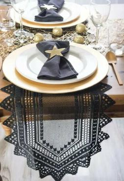 DII 100% Polyester, Machine Washable, Crochet/Lace Table Run
