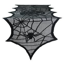 DII 14x72 Polyester Lace Table Runner, Black Happy Halloween
