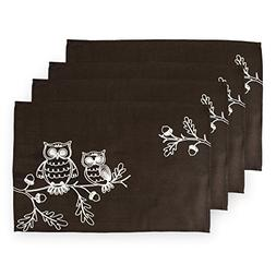 DII Polyester Placemat, Set of 4, Embroidered Owls - Perfect