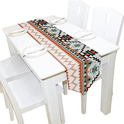 ALAZA Tribal Aztec Geometric Pattern Polyester Dining Table