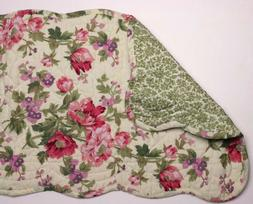 "Great Finds PRISCILLA Floral Quilted Cotton 12"" x 42"" Table"