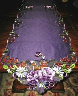 Purple Rose Lacy Embroidered Table Runner Dresser Scarf Doil