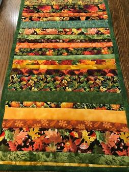 Handmade Quilted Fall Table Runner Colorful Fall Fabric Stri