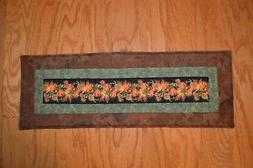 """Quilted Table Runner Handmade Fall Autumn Leaves 22.5""""x8"""""""