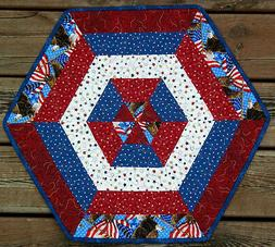 Handcrafted Quilted Table Runner Topper INDEPENDENCE DAY FLA