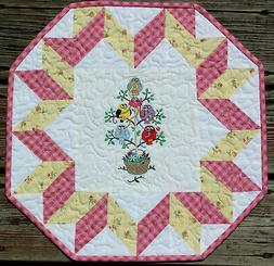 Handcrafted Quilted Table Runner Topper- MAYPOLE TWEETS BASK