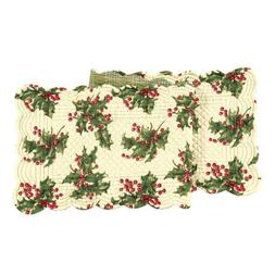 C&F Home, Holly Cream Quilted, Scalloped Holiday Large Table