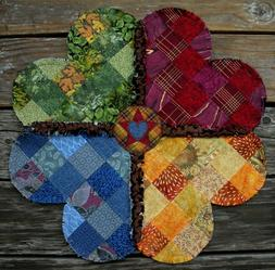 """RAG QUILT Scrappy Table Mat  19.5""""  Handmade in Oregon! NEW!"""