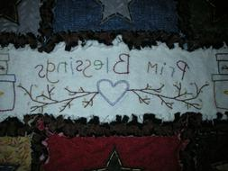 RAG QUILT Table Runner Hand Embroidered Handmade in Oregon!