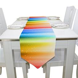 Aideess Rainbow Polyester Table Runner Placemat 13 x 90 inch