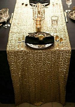 ShinyBeauty 12x72-Inch Rectangle-Gold-Sequin Table Runner- f