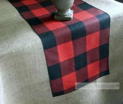 Red and Black Buffalo Check Plaid Table Runner Farmhouse Kit