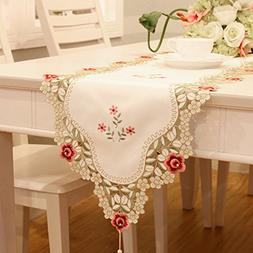 Red flowers embroidered short satin table runner tapestry