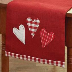 Red Jute Table Runner Valentines Day Hearts Farmhouse Kitche