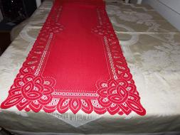 Red Lace Battenburg design Table Runner 36 x 14