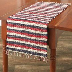 Red Navy Cream Table Runner Stripe Chindi Patriotic American